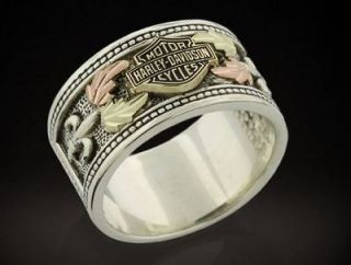 HARLEY DAVIDSON® MENS STAMPER® STERLING SILVER & GOLD LEAVES RING