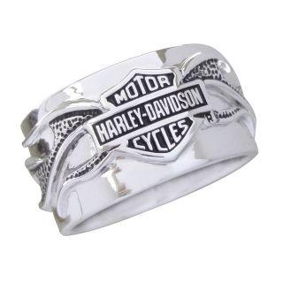 Harley Davidson Mens Silver Night Flame Ring   NEW