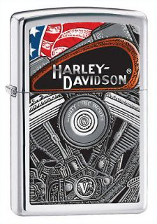 Zippo Harley Davidson Lighter, High Polish Chrome, Low Shipping