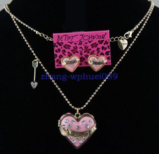 New Betsey Johnson Pink Heart shaped Earring and Necklace