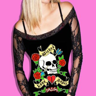 DIY DEMI LOON SkuLL Tattoo Goth Rockabilly Biker Sexy L/S tee Top X/S