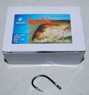 Live Bait Hooks. Box of 100. Kingfish / Tuna. Strong fishing Hooks