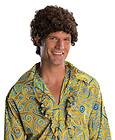 Adult Mens Tight Curl Brown 70s Afro Halloween Costume Accessory Wig