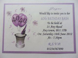 10 x Personalised Handmade Birthday Age Invitations