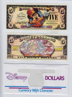 Disney Dollar: Mickeys 80th Anniversary $5 2008 D series Walt