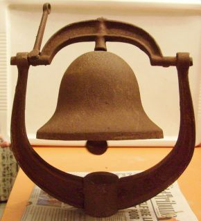 ANTIQUE 1700 1800s IRON BELL MARKED USA POST RAILROAD CHURCH SCHOOL