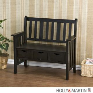 PECOS Country BENCH Black Storage 3 Drawer Entryway Hallway NEW HOLLY