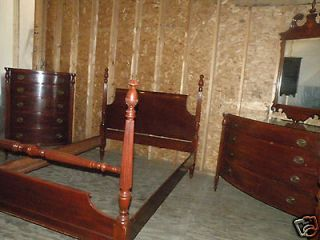 FREE SHIP ANTIQUE MAHOGANY FULL QUEEN BEDROOM SET MORGANTON