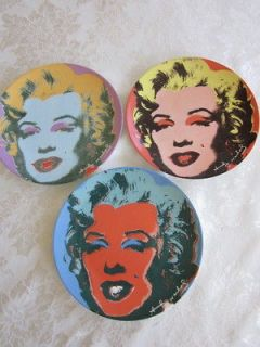 Three 1997 Andy Warhol Marilyn Monroe 8 1/2 Block China Plates