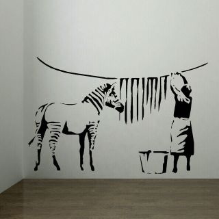Banksy Style Washed Zebra Stripes   Large Wall Sticker. Many colours