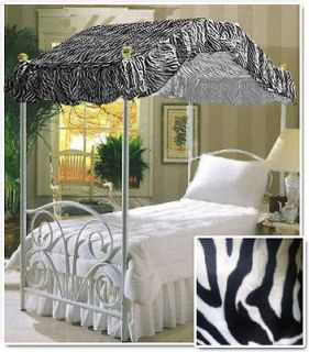 TWIN SIZE ZEBRA FAUX FUR ANIMAL CANOPY BED COVER TOP FABRIC KIDS
