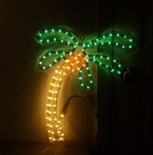 Palm Tree Tropical Sign 18 Inch Tall Rope Lighting in Clear PVC on
