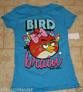 Girls Juniors L Large Turquoise Blue Angry Birds Bird Brain shirt NEW