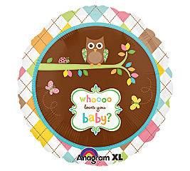 Who Loves You Owl Design 18 Mylar Foil Baby Shower Party Balloon