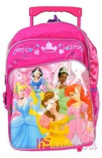 Disney Princesses Crown Pink Roller 16 Backpack   Rolling Girls Bag