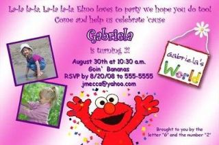 Pink Photo Sesame Street & Elmo Birthday Party Invitations   You Print