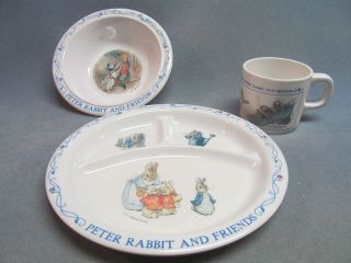 Peter Rabbit Melmac Divided Dish, Bowl, and Cup Set Clean and Bright