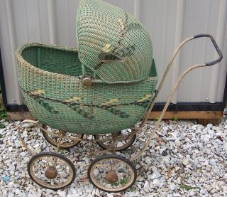 Vintage South Bend Toy Green Wicker Baby Carriage Buggy
