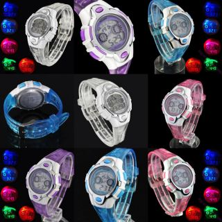 Color Flash Led Backlight Digital Sport Women Lady Boy Wristwatch