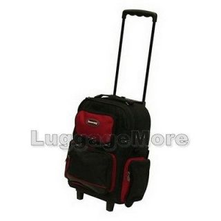 16.5 Red Rolling Backpack Wheeled School Bookbag Travel Carry on Drop
