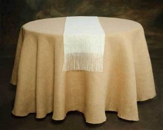 Burlap Table Runners 13 x 120 Cream White With Fringe, 100% Refined