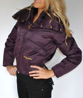 New Womens Baby Phat Down Filled Jacket Coat Purple Gold Satin Large L