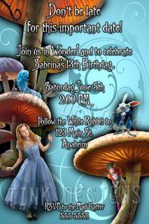 Wonderland invitations Custom personalized baby shower birthday party