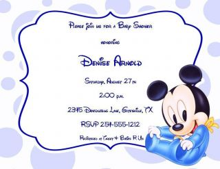 24 Baby Mickey Mouse Baby Shower Invitations