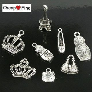 Tibetan silver Mixed Crown baby high heels cat bag Eiffel Tower Charms