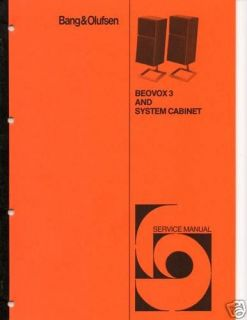 Original B & O Service Manual Beovox 3 Speakers