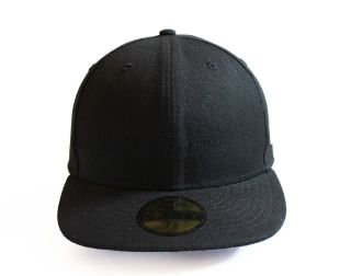 New Era 5950   Plain BLACK Fitted   MLB Baseball Cap Hat