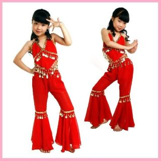 Kids Girls Belly Dance Top+Pants Set Outfit Coins Bollywood Dancing