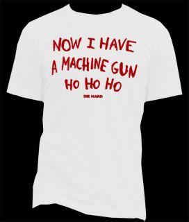 DIE HARD RETRO ACTION MOVIE HAVE A MACHINE GUN T SHIRTS STYLISH YELLOW