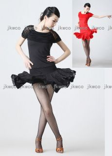 latin ballroom dance dress top + skirt salsa tango ruffle chacha dance