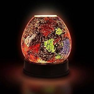 Glass Stained Red Electric Scented Oil Burner/Warmer Night Light Lamp