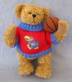 Teddy Bear Stuffed Plush Basketball KU University of Kansas Jayhawk