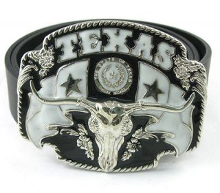 Cowboy Texas Longhorn Bull Ox Cow Head Buckle Genuine Leather Belt Men