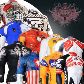 FIXGEAR mens Bike Cycling Jersey tights shirts longsleeve clothing S