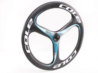 Tri Spoke Carbon Tubular Front TT Triathlon Time Trial Road Bike Wheel