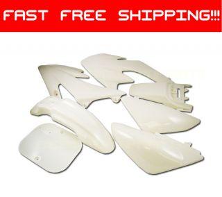 WHITE Plastic 7pc Kit PIT BIKE DIRT BIKES Honda XR50