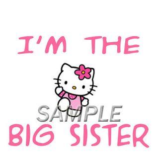 HELLO KITTY BIG SISTER T SHIRT IRON ON TRANSFER 3 SIZES