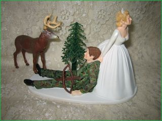 HUMOROUS CAMO WEDDING BIG BUCK DEER BOW & ARROW HUNTER HUNTING CAKE