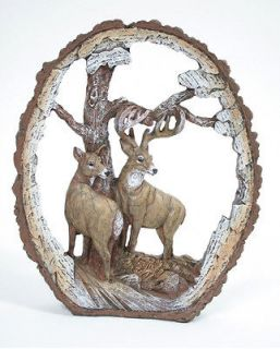 Carved Wood Look Deer Scene Figurine with Buck and Doe Home Decor Cake