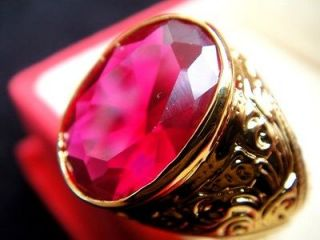 Mens GOLD RING Easy Stunning Red RUBY Sapphire Gemstone Jewelry