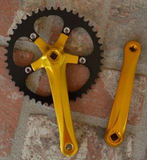 Fixie Single Speed Fixed Gear Bike Bicycle Crank Crankset Gold 46T