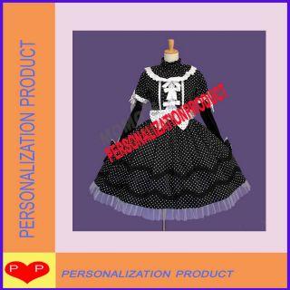 Lolita White/black Polka Dot Cosplay knee length black/white Dress