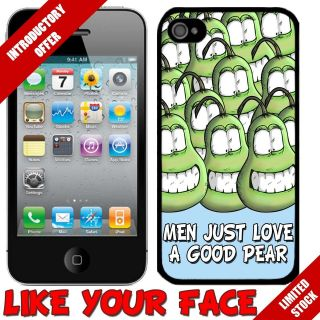 Funny Crazy Cartoon Pear Fruit Character cover phone case for Iphone 4