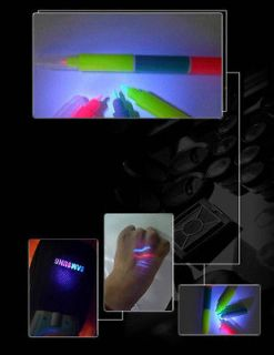 Invisible 3 Color UV Blacklight Ink Temporary Body Tattoo Spy Pen