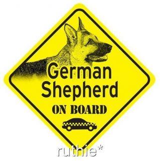 German Shepherd On Board Dog Window Sign Made in USA