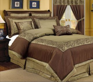 Comforter Set in Full or Queen Brown Luxury Complete Bedding Set